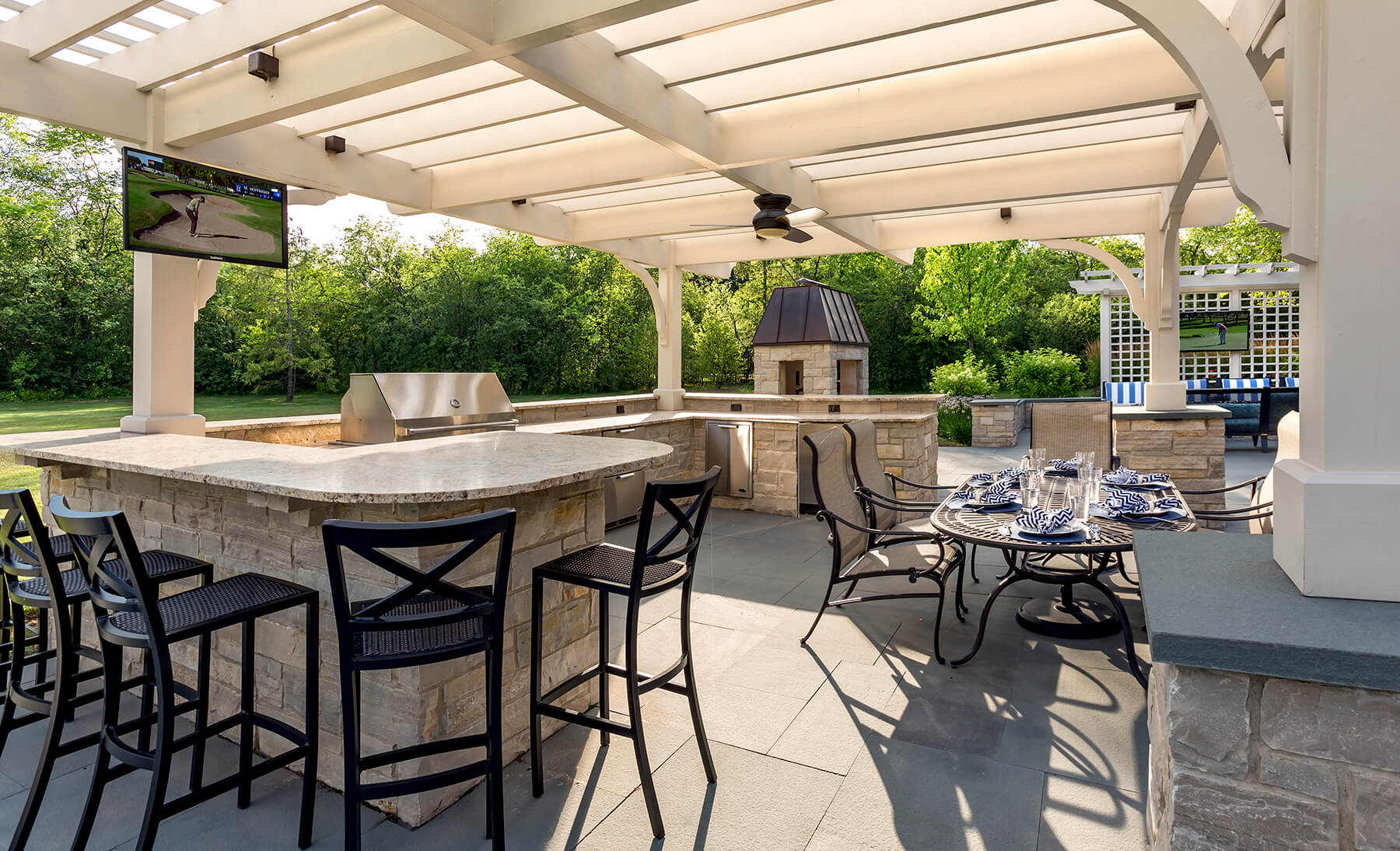 Outdoor Kitchen With Pergola Northbrook IL