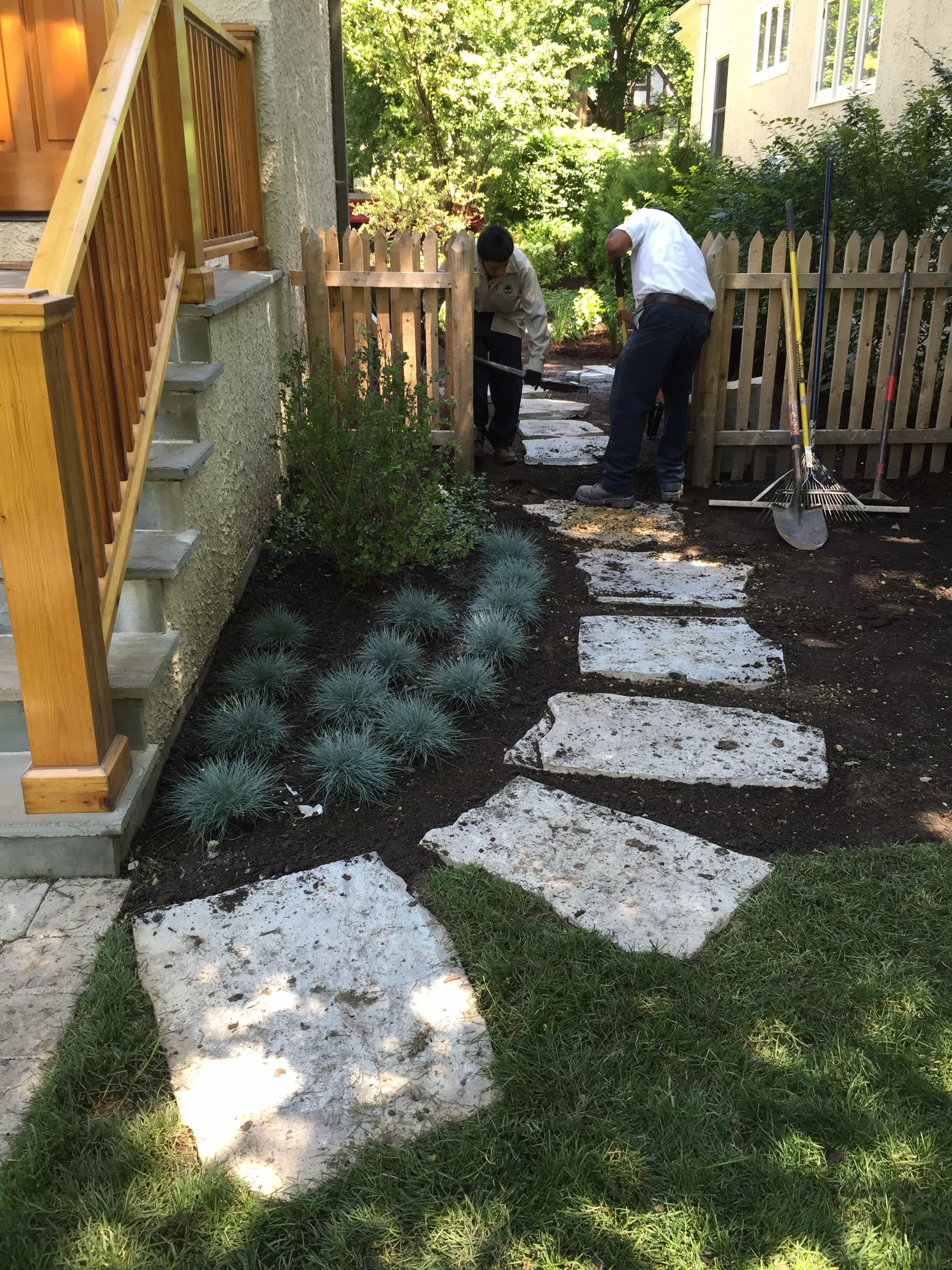 Flagstone Steppers With Perennials & Flowering Shrubs Wilmette IL