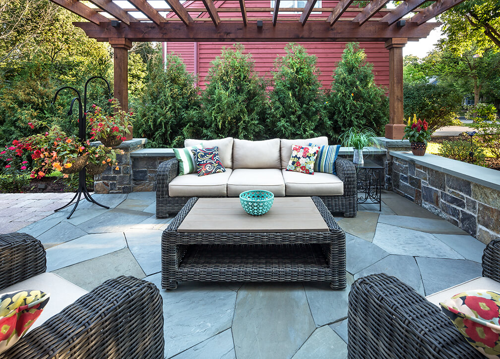 sunken bluestone patio american granite retaining wall pergola LED lighting Providence Oaks Gurnee IL