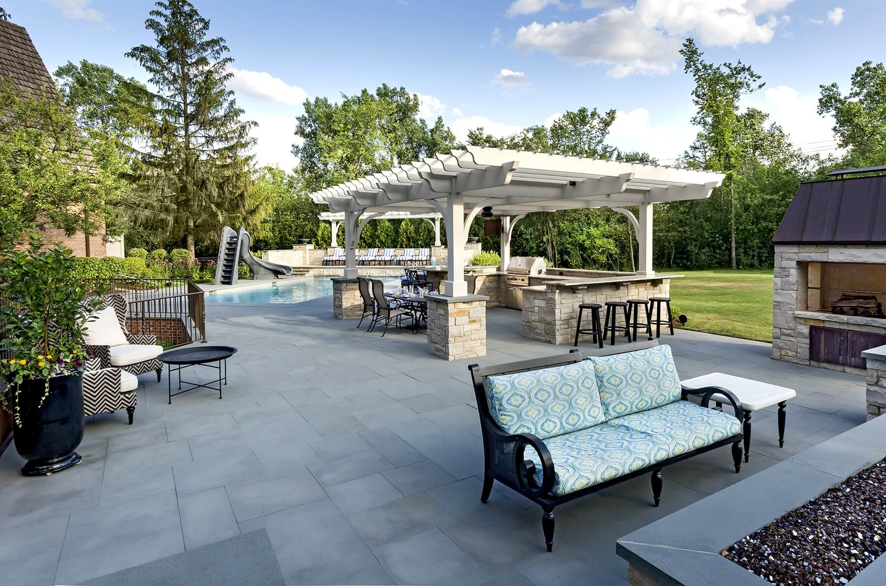 Pergola, Outdoor Kitchen, Ipe Decking, And Linear Fire Pit ...