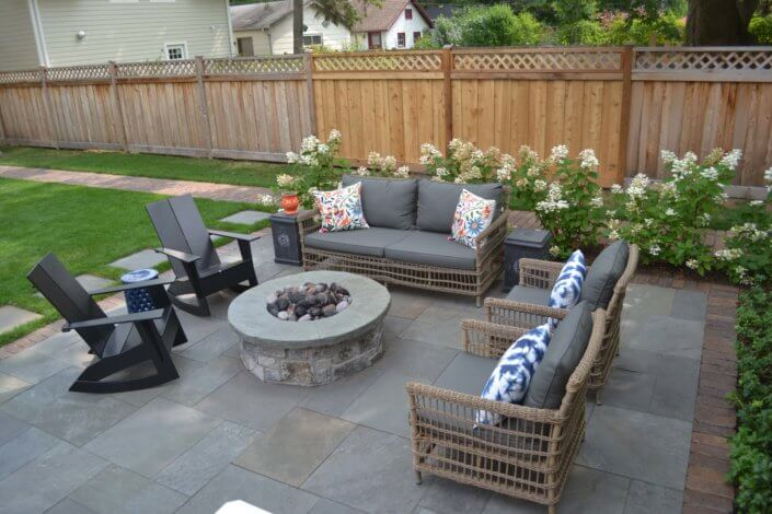 full range natural cleft bluestone patio reclaimed paver border and walk natural stone fire pit Evanston IL