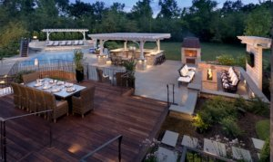 Deck With Led Lighting Fire Pit Outdoor Kitchen Northbrook