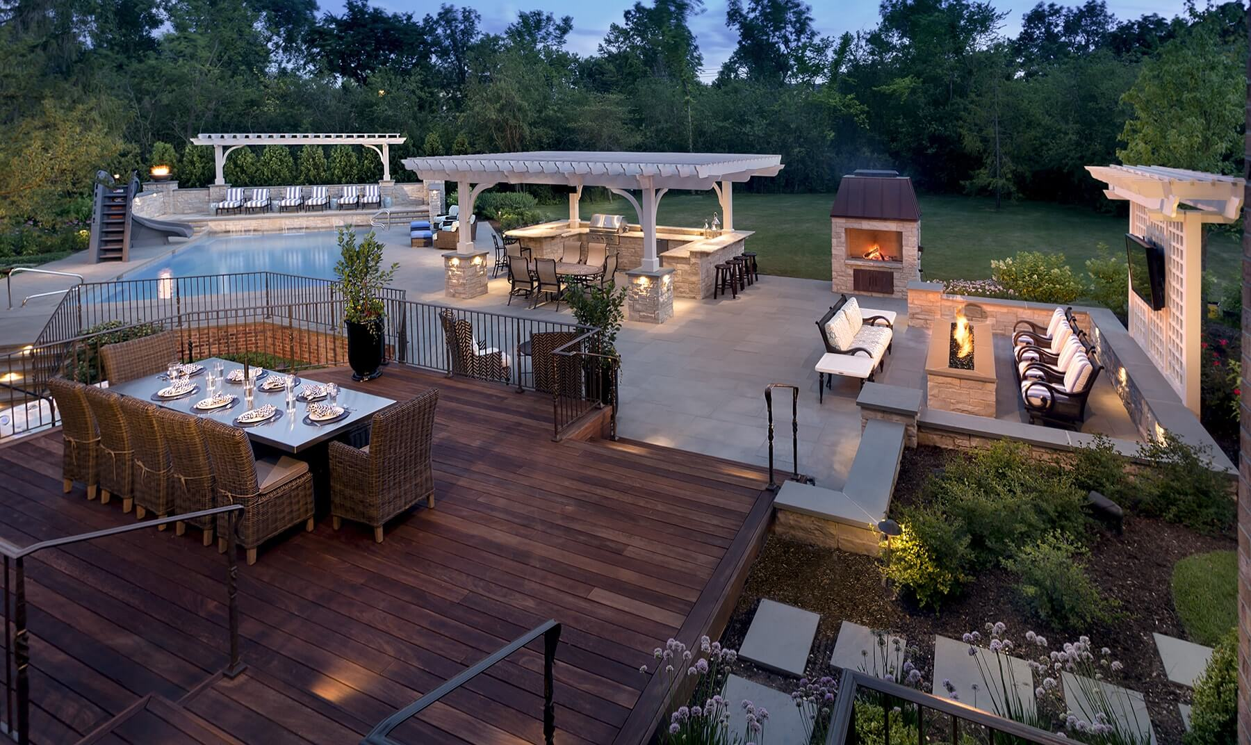patio with fire pit and pergola. Deck With LED Lighting, Fire Pit \u0026 Outdoor Kitchen Patio And Pergola A