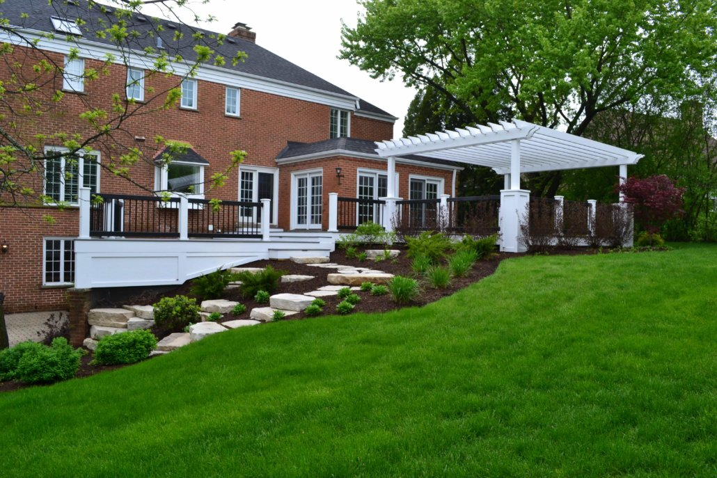 Maintenance Free Deck Pergola And Flagstone Steppers