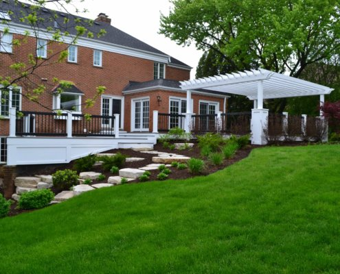 Maintenance-Free Deck, Custom Pergola & Terraced Hill free deck custom pergola terraced hill Barrington, IL