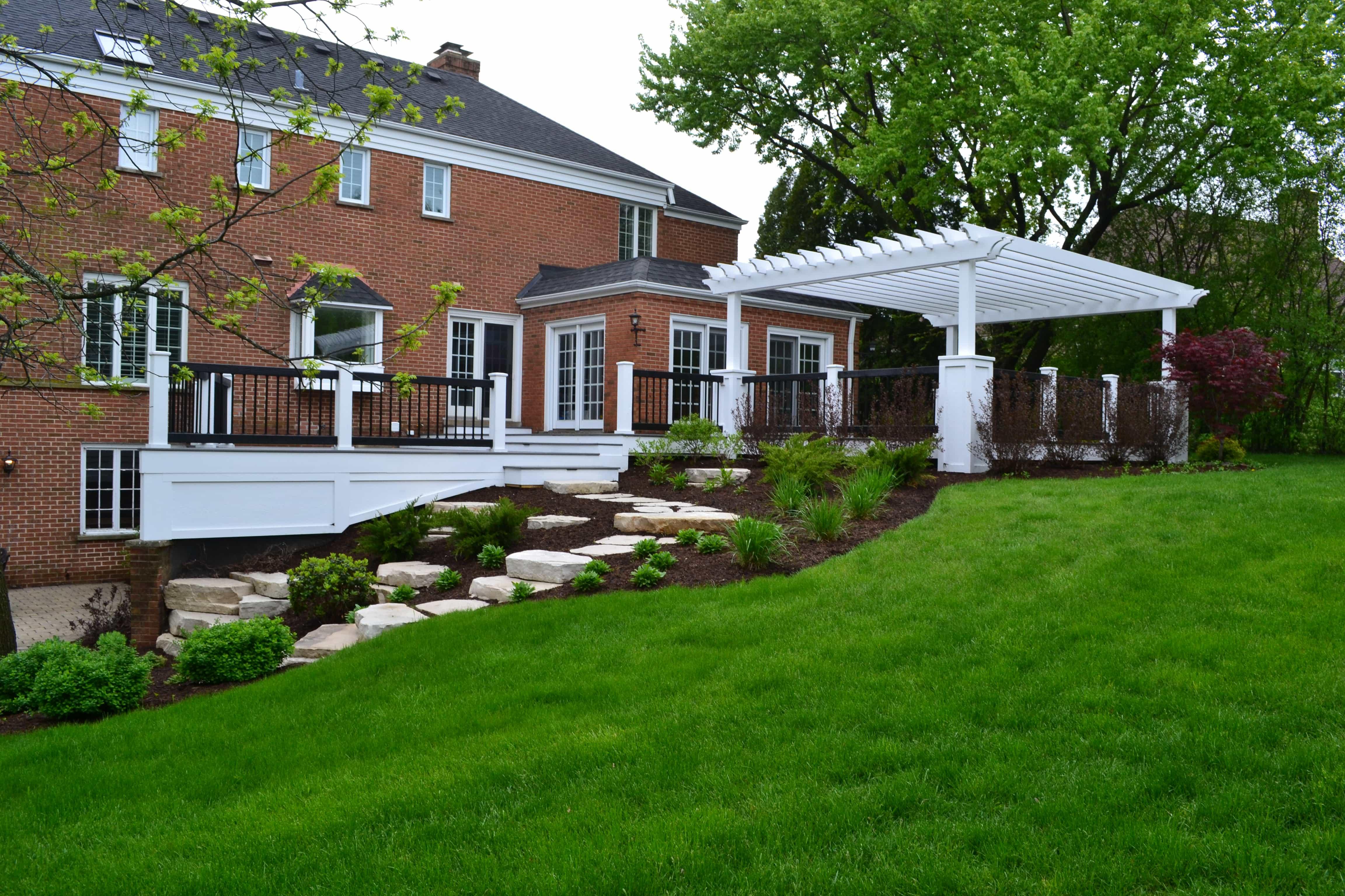 Maintenance-Free Deck, Custom Pergola & Terraced Hill free deck custom pergola terraced hill Barrington, IL