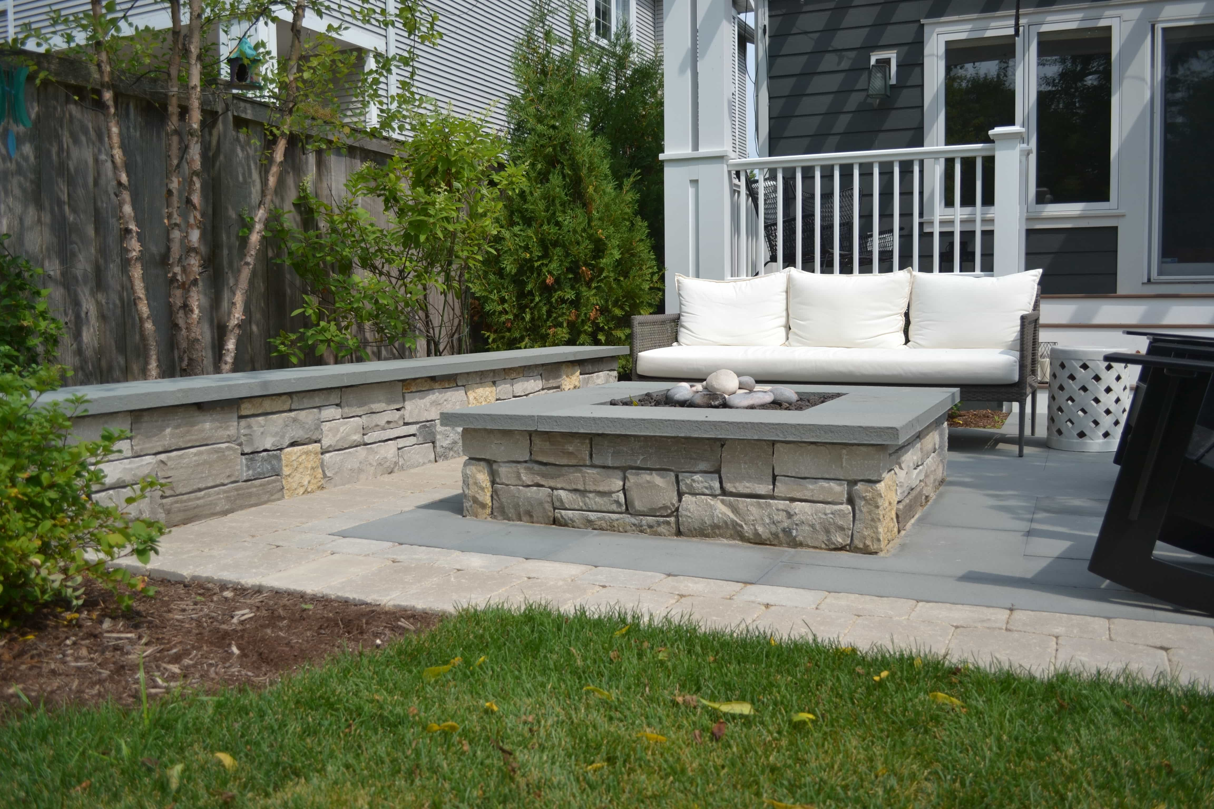 Natural Stone Square Fire Pit, Bluestone Patio Evanston IL