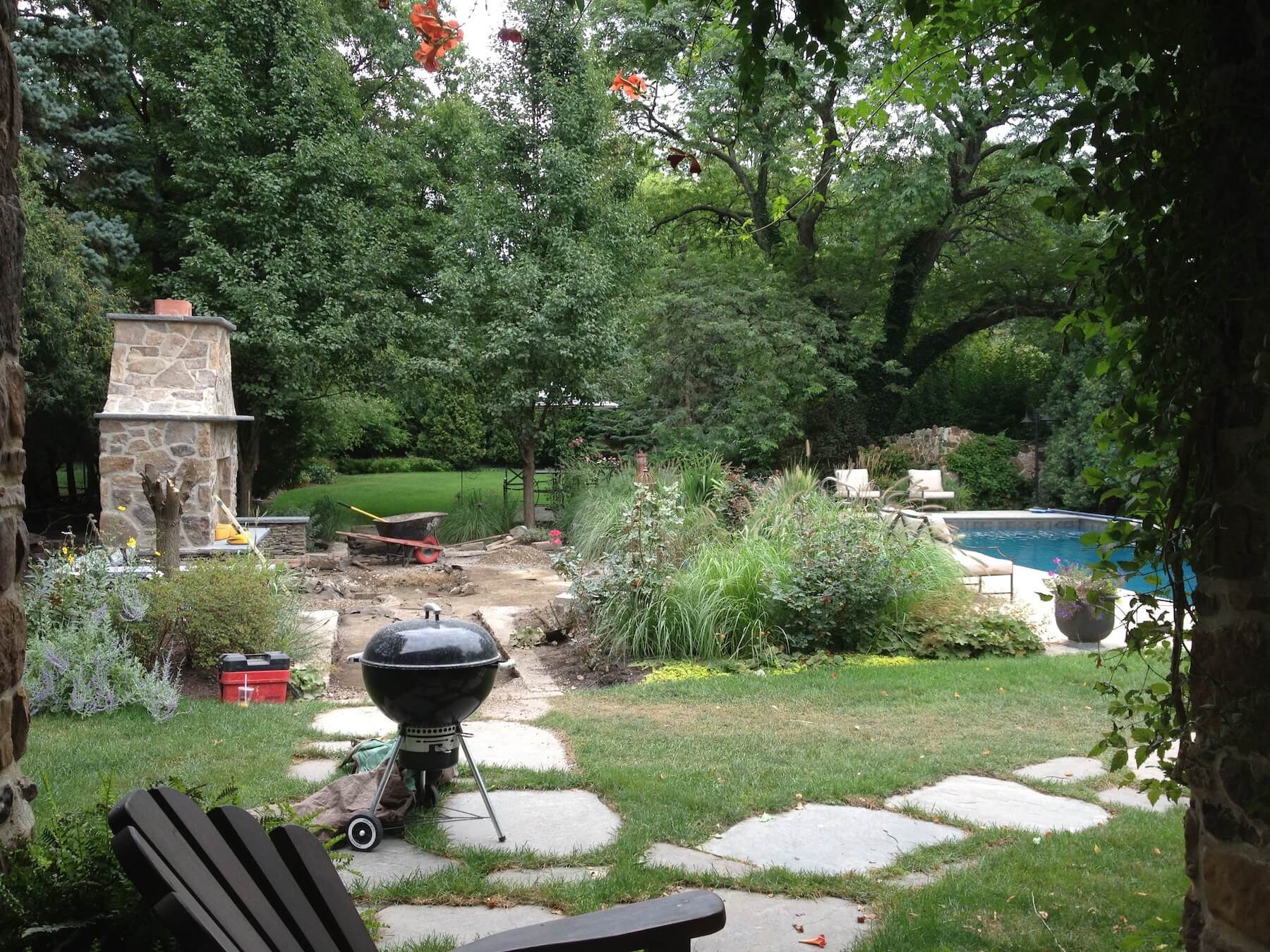 Outdoor Fireplace In Progress Northbrook IL
