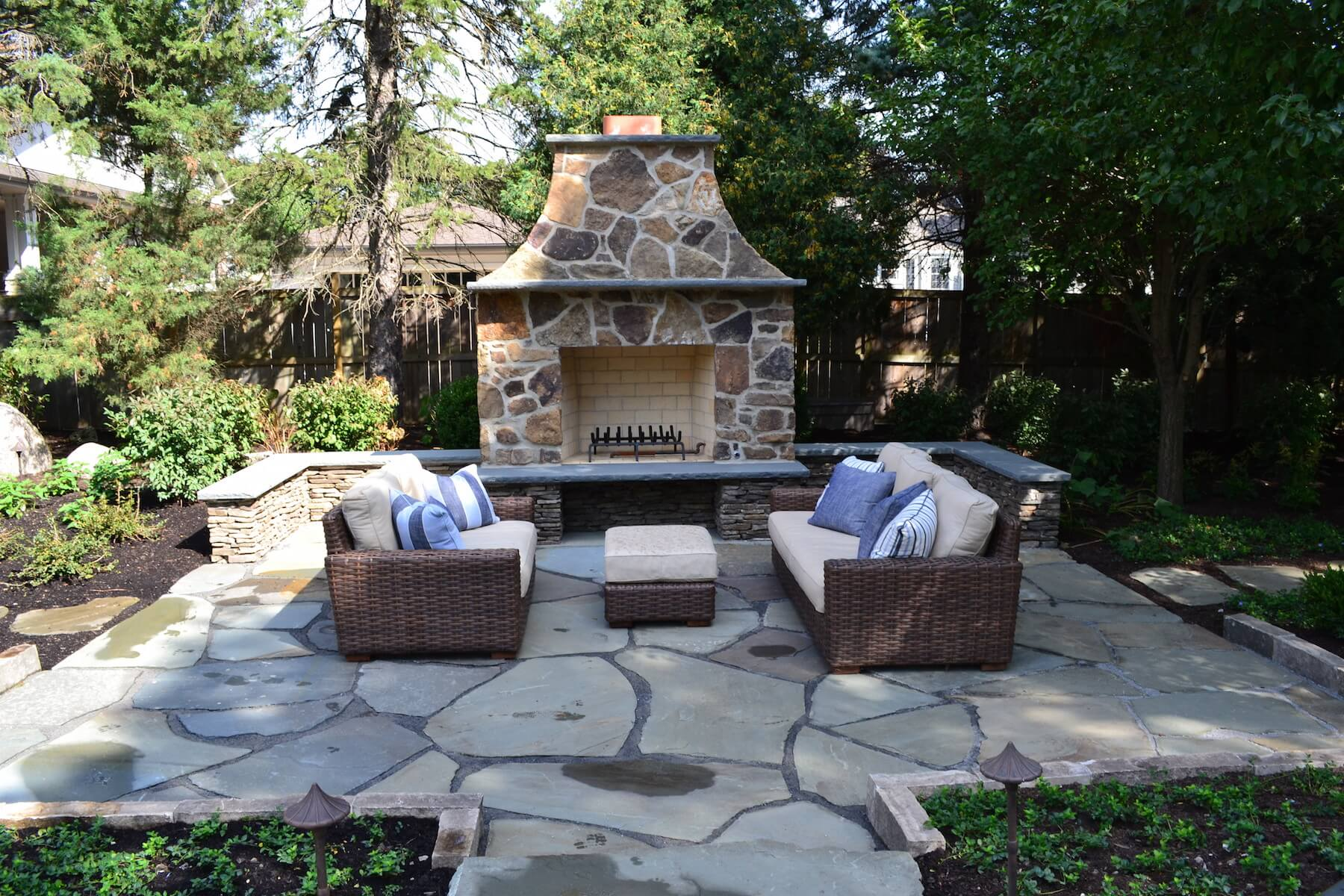 Outdoor Fireplace With Seating Northbrook IL