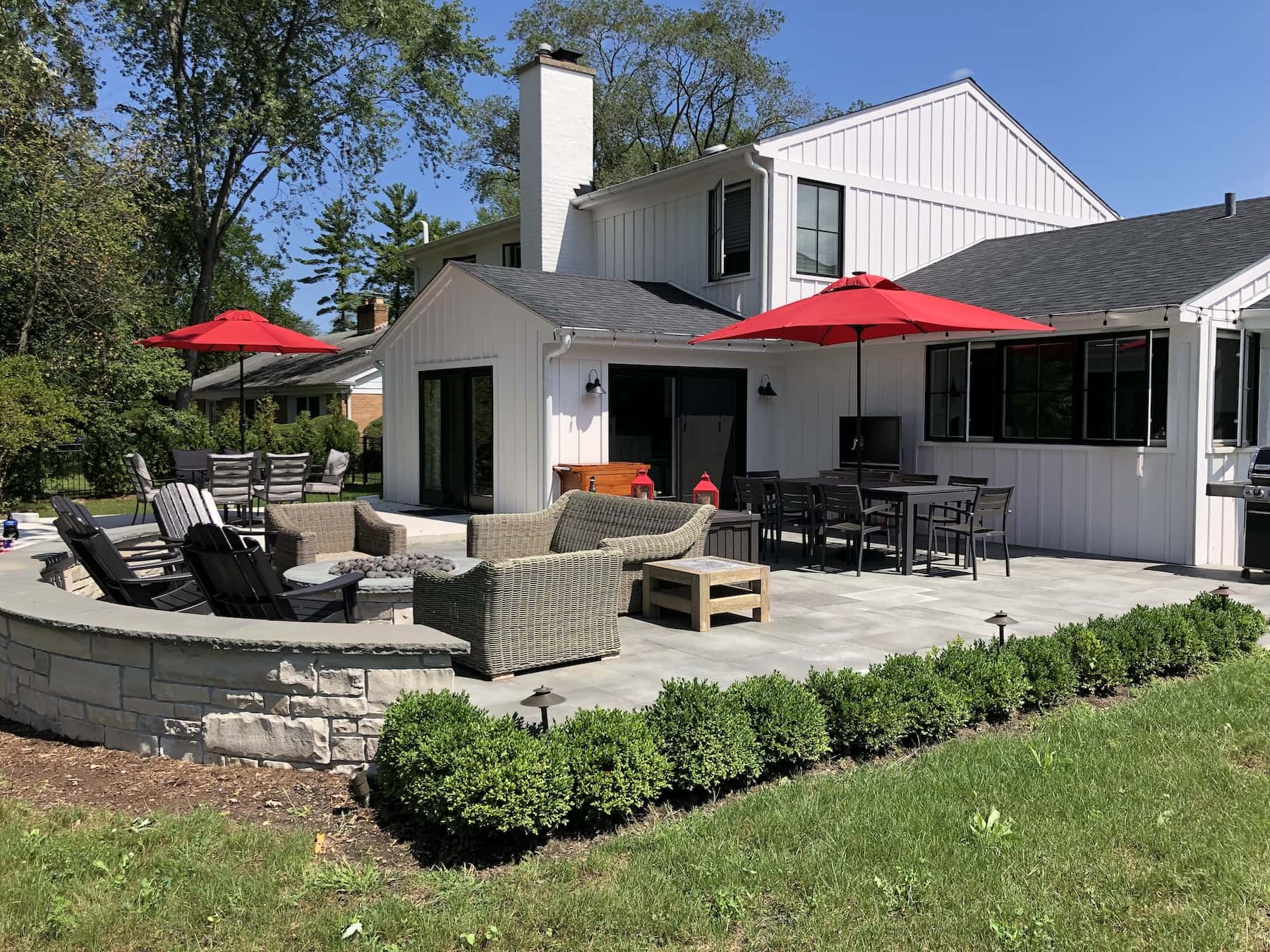 Landscaping Outdoor Dining Paver Patio Fire Pit Northfield IL