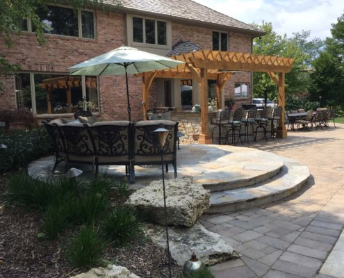 Pergola Flagstone Patio Idaho Gold Green Oaks, IL