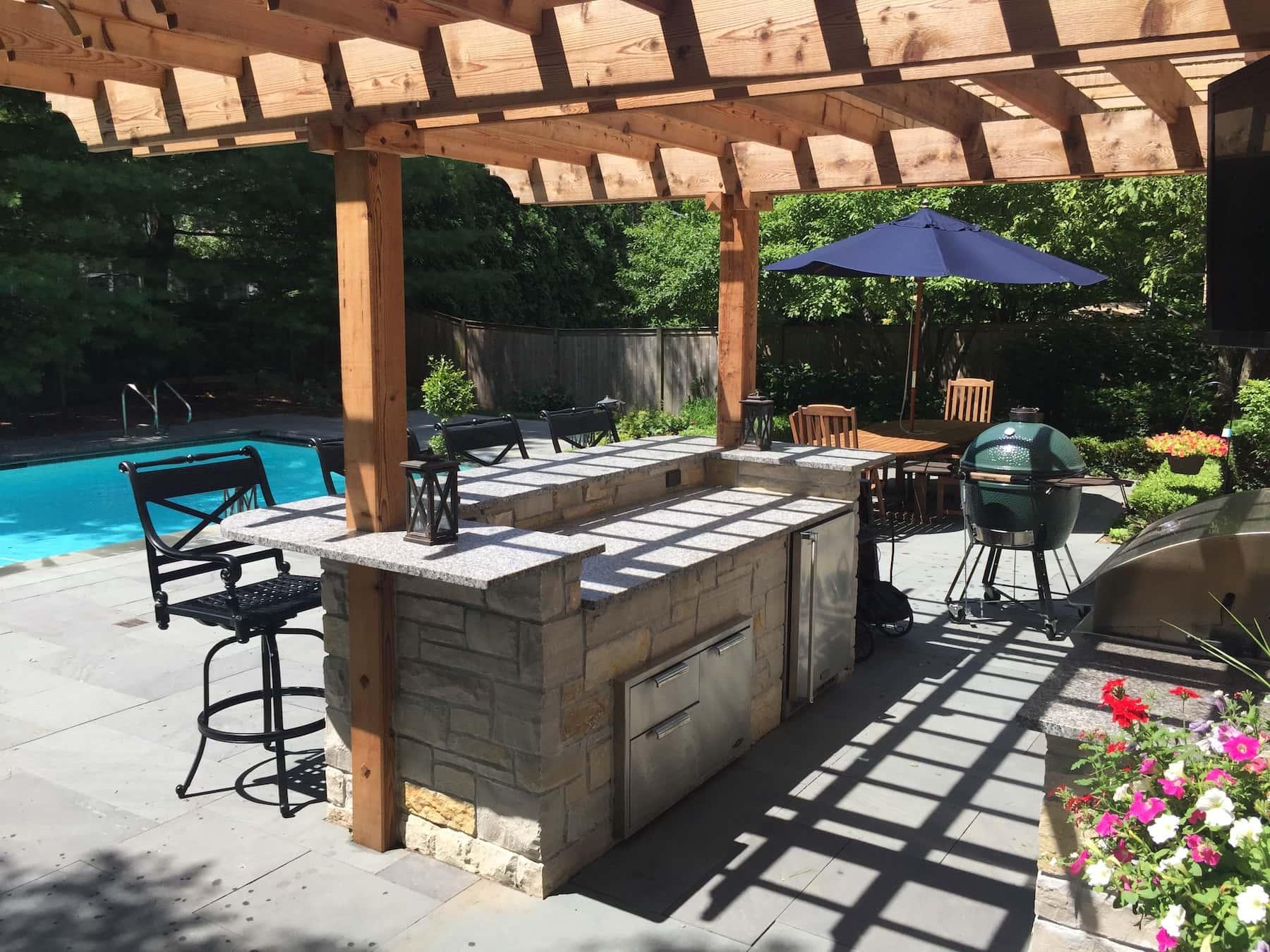 Pergola Outdoor Bar Stools Paver Patio Northbrook, IL