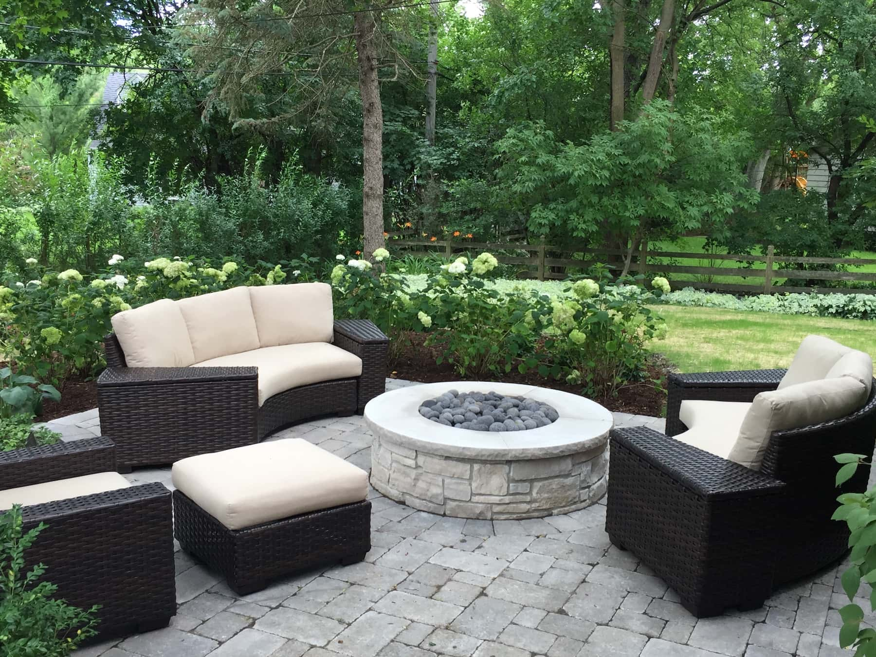 Stone Fire Pit Paver Patio Landscaping Northbrook IL