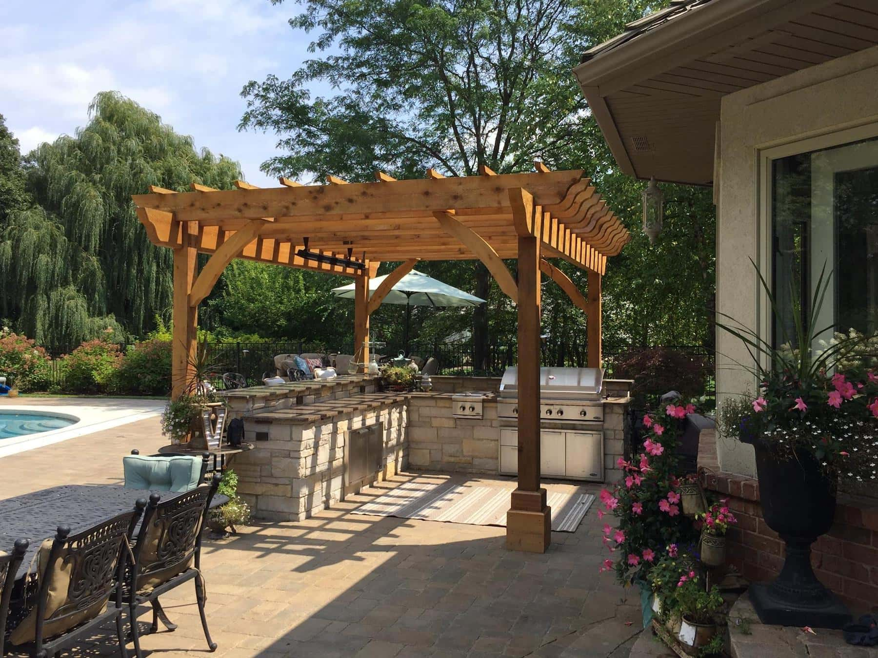 Pergola Outdoor Kitchen Pavers Green Oaks, IL