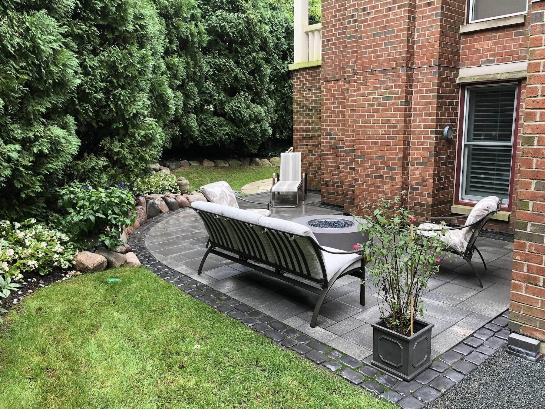 unilock paver patio furniture fire pit landscaping winnetka il