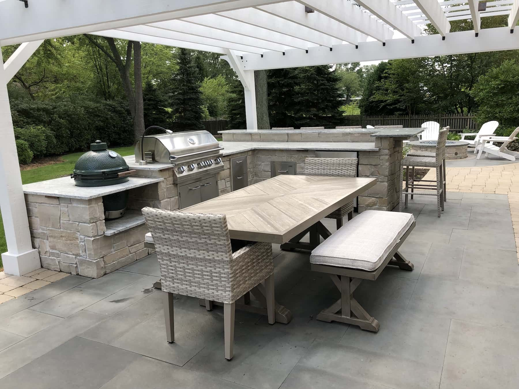 Paver Patio Outdoor Dining Outdoor Kitchen Pergola Northbrook IL