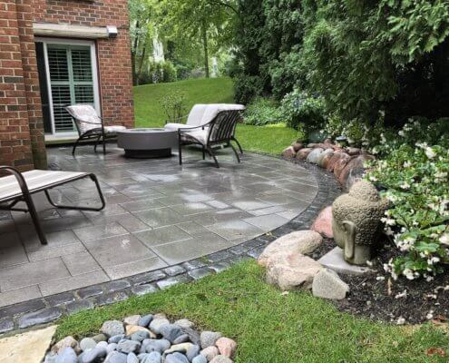 unilock paver patio furniture fire pit landscaping winnetka il