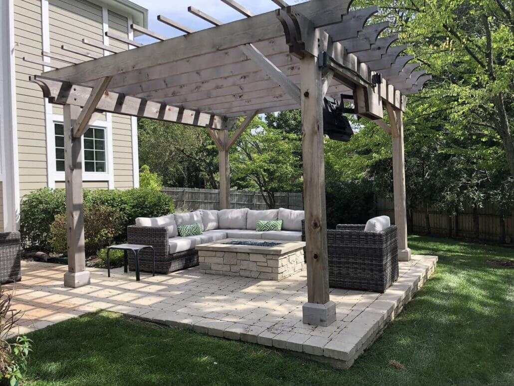 pergola  paver patio  custom stone fire pit - northbrook  il