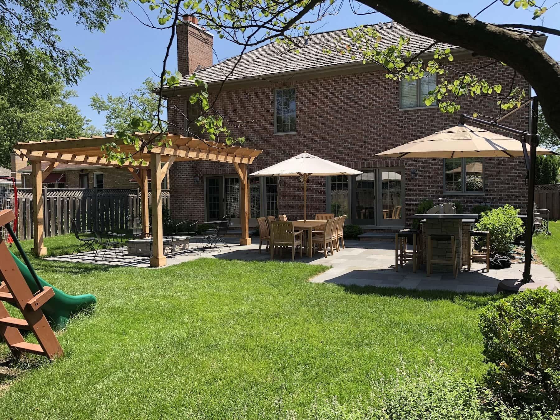 Pergola Paver Patio Outdoor Kitchen Pub Seating Glenview, IL