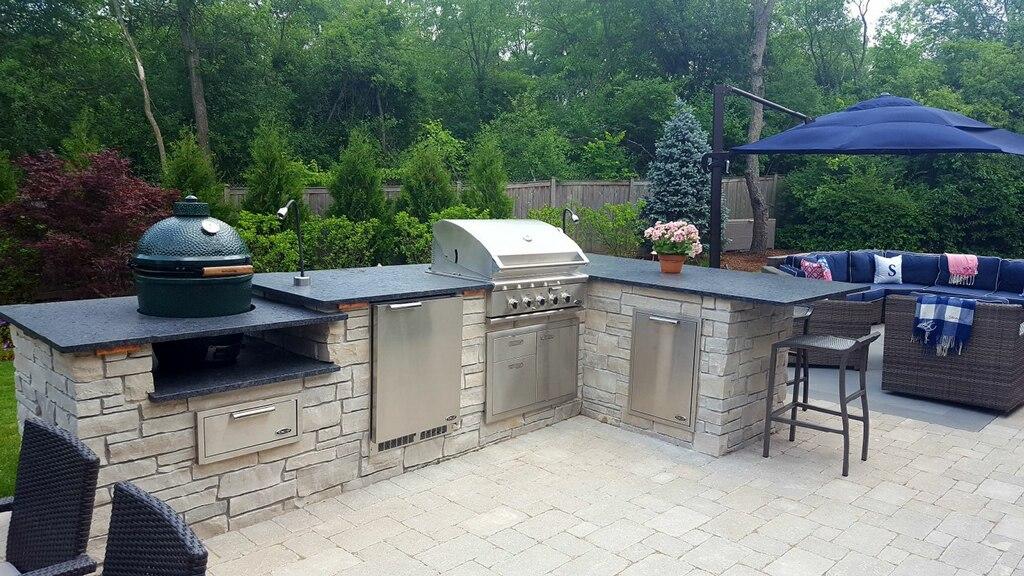 Stone Outdoor Kitchen Paver Patio Granite Counters Big Green Egg Lake Bluff IL
