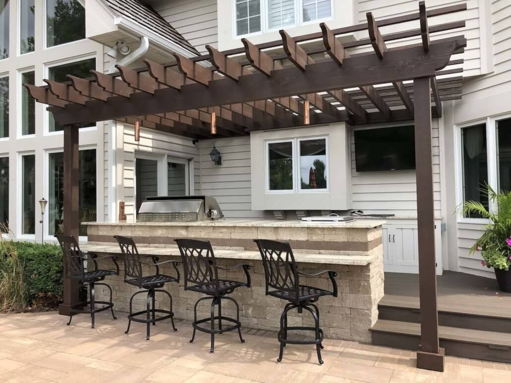 paver patio pergola built in grill bar deck outdoor dining libertyville il