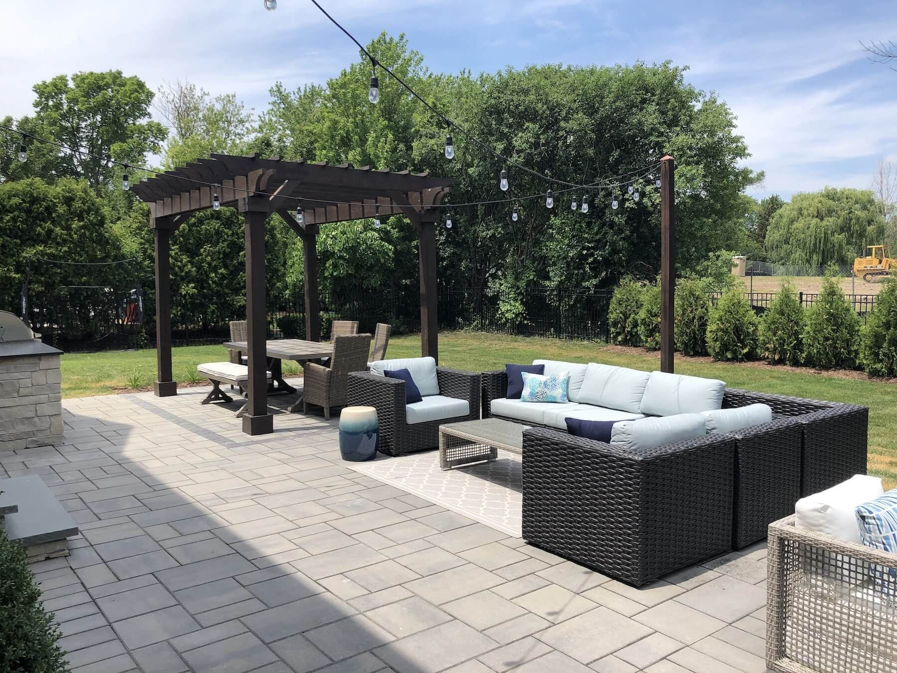 pergola paver patio outdoor kitchen fire pit great oaks landscaping northbrook il